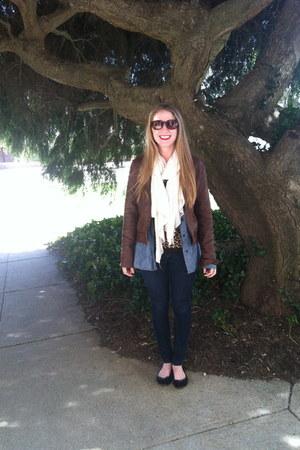 blue Gap blouse - dark brown Marshalls jacket - beige Target scarf