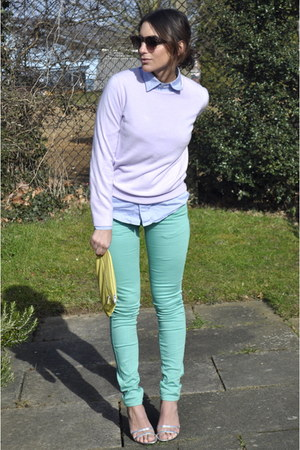 yellow COS bag - light blue American Apparel shirt - periwinkle M&S jumper