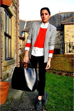Kurt Geiger boots - Topshop blazer - Burberry shirt - Zara bag - Zara pants - H&