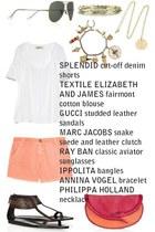 hot pink Marc Jacobs bag - salmon cut-off denim Splendid shorts - army green cla