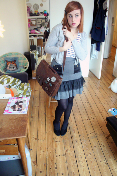 gray Luella skirt - white new look t-shirt - black modcloth shoes - brown vintag