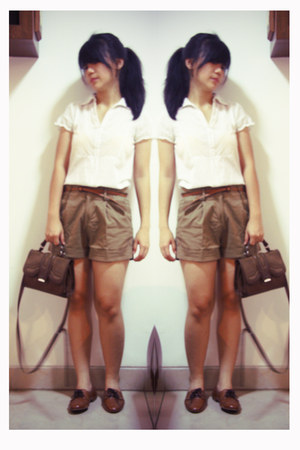 brown Gaudi shoes - olive green Zara bag - dark khaki Zara shorts - white pull&b