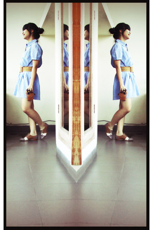 camel Marie Claire shoes - sky blue H&M dress - light brown Forever 21 belt - br
