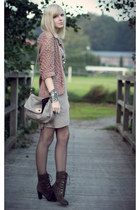 light pink H&M cardigan - brown Bruno Premi boots - tan H&M dress