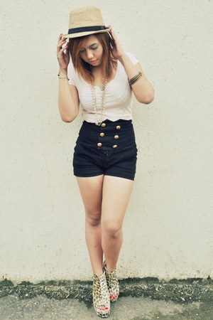 leopard print from onlineshop wedges - From Bohol hat - peach Zara shirt