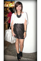 black Shapes necklace - white giordano top - Fendi skirt - silver Guess purse -