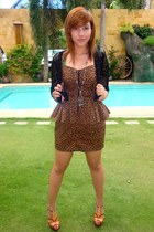 brown From The Ramp dress - black from moms closet cardigan - burnt orange Charl