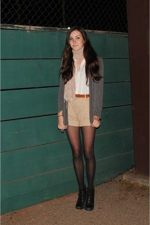 black seychelles boots - beige vintage shorts - gray my sisters sweater - white