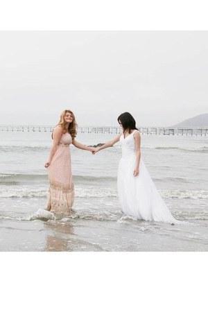 light pink dress - white dress