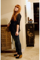 black New York & Co blouse - Levis jeans - volition shoes - vintage Coach purse