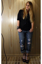 Target top - thrifted vest - Gap jeans - shoes - Nine West