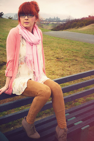 bronze M&S leggings - ivory new look shirt - pink scarf - salmon cardigan