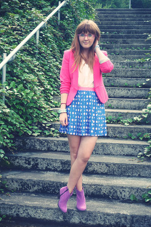 sky blue River Island skirt - magenta asos boots - hot pink H&amp;M blazer