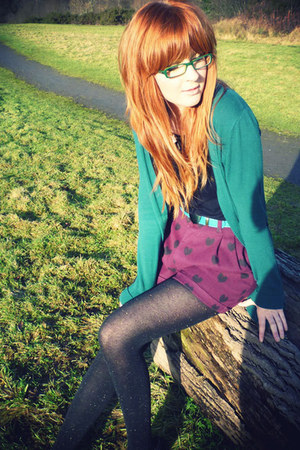 black Tatty Devine necklace - maroon H&amp;M shorts - teal Topshop cardigan