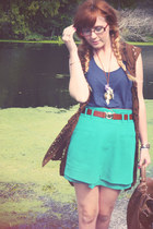 turquoise blue asos skirt - navy H&M top - brown vest