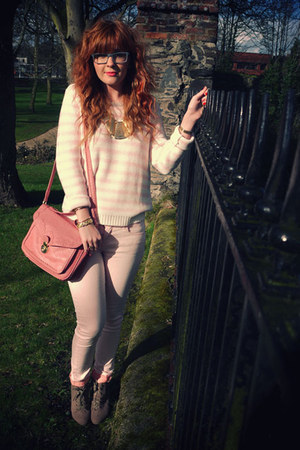 coral Topshop bag - light pink River Island jeans - pink H&amp;M sweater