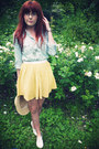 Yellow-topshop-skirt-camel-primark-hat-sky-blue-river-island-shirt