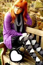 purple salt & pepper cardigan - black mado dress - purple avoca scarf - gray avo