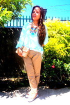 sky blue Old Navy top - dark khaki Penshoppe pants
