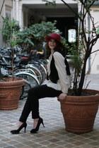 black H&M jeans - crimson vintage hat - ivory vintage blouse - black vintage ves