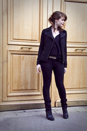 black Uniqlo pants - black SANDRO blouse - black Zara jacket - black Guess shoes