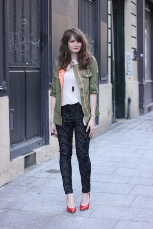 olive green Sheinside jacket - black Derhy pants
