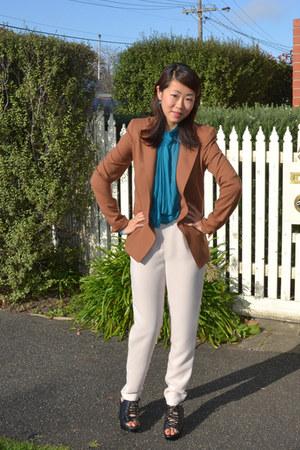 tawny wool structured Bianca Spender blazer - silk Bianca Spender pants - turquo