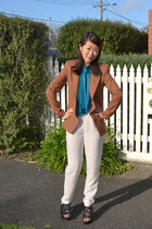 tawny wool structured Bianca Spender blazer - silk Bianca Spender pants - turquo