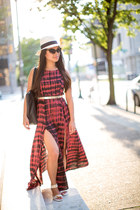 double slit Urban Outfitters dress - Jcrew hat - Aldo sandals