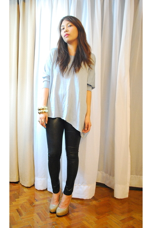 blue Zara top - black blingfinds leggings