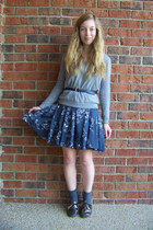 blue floral H&M dress - heather gray JCrew sweater - charcoal gray HUE socks - n