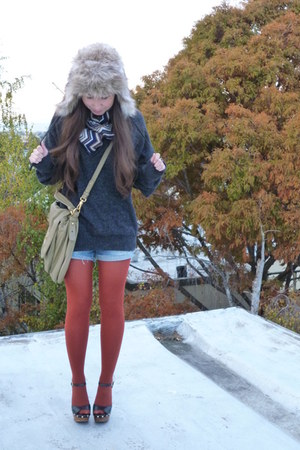 light brown H&M hat - brick red American Apparel tights - lime green Marc by Mar
