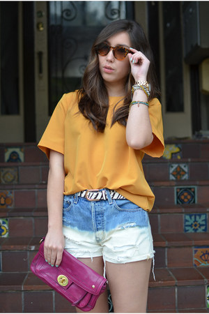 DIY shorts - thrifted shirt - coach bag - Dixi glasses