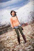 washed Promod jeans - Bata boots - Promod sweater - flower print Promod shirt