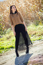 Mango-boots-h-m-sweater-maxi-zara-skirt-animal-print-promod-necklace