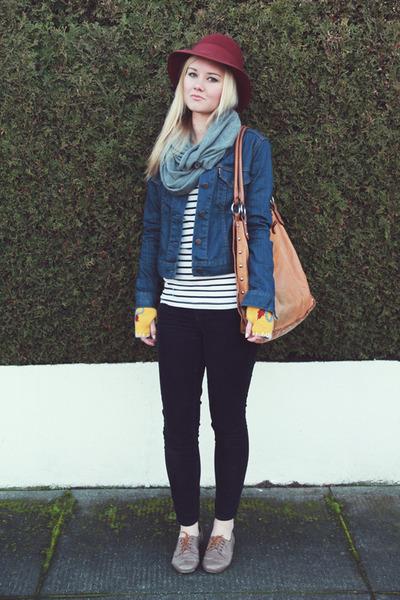 leather Golden Ponies shoes - maroon vintage hat - denim jacket Levis jacket - t
