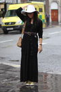 Black-united-arrows-dress-black-primark-cardigan-yellow-dkny-shoes-yellow-