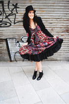 boots - H&M boots - vintage dress - BLANCO hat