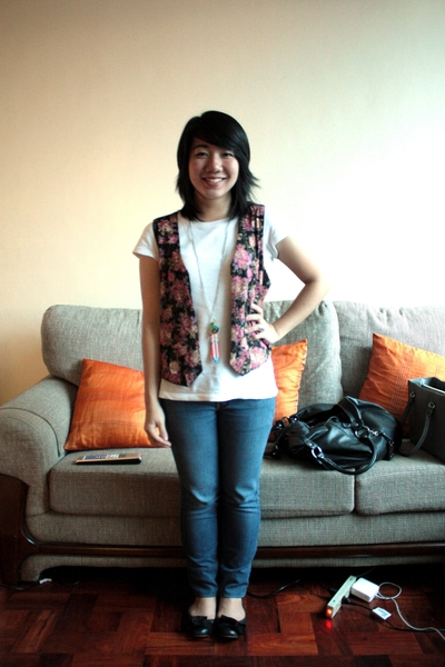 sm department store shirt - Grandmas floral vest - bench jeans - Topshop shoes -