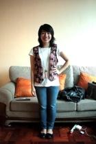 sm department store shirt - Grandmas floral vest - bench jeans - Topshop shoes -