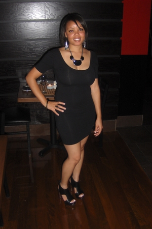 black american apperal dress - black Pour La Vistoire shoes - Express necklace -