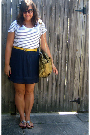 blue Marshalls shoes - blue H&M skirt - yellow Old Navy belt - white Old Navy to