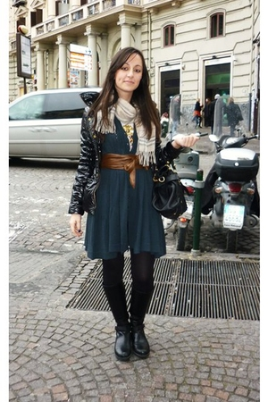 blue twinset dress - black Prada boots - black Calzedonia tights - black Miu Miu