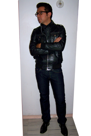 black pull&bear jacket - gray Dolce&Gabbana shirt - black Zara accessories - H&M