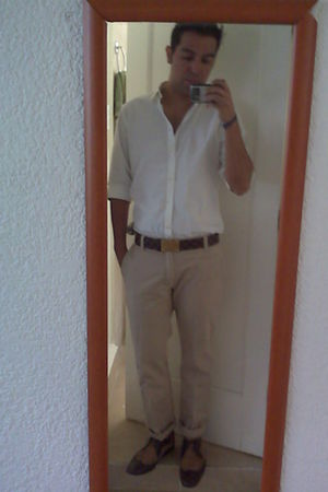 white H&M shirt - brown Louis Vuitton belt - beige pull&bear pants - brown Zara