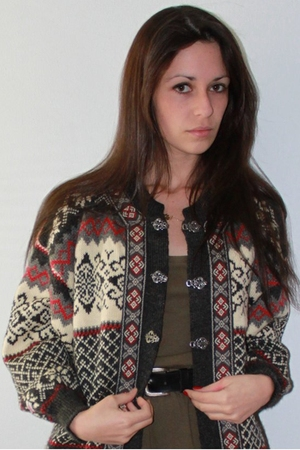 vintage cardigan - green American Apparel dress - black Vintage DKNY belt