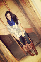 brown Steve Madden boots - ivory Forever 21 sweater