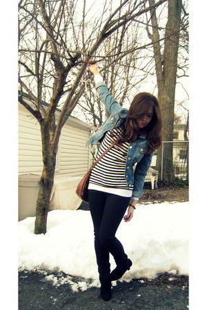 black cutesy girl shoes - blue H&M jacket - white Forever 21 shirt