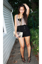 black GoJane shorts - charcoal gray H&M shirt - silver Ruche purse