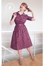 Maroon-made-by-me-dress-beige-straw-boater-vintage-hat
